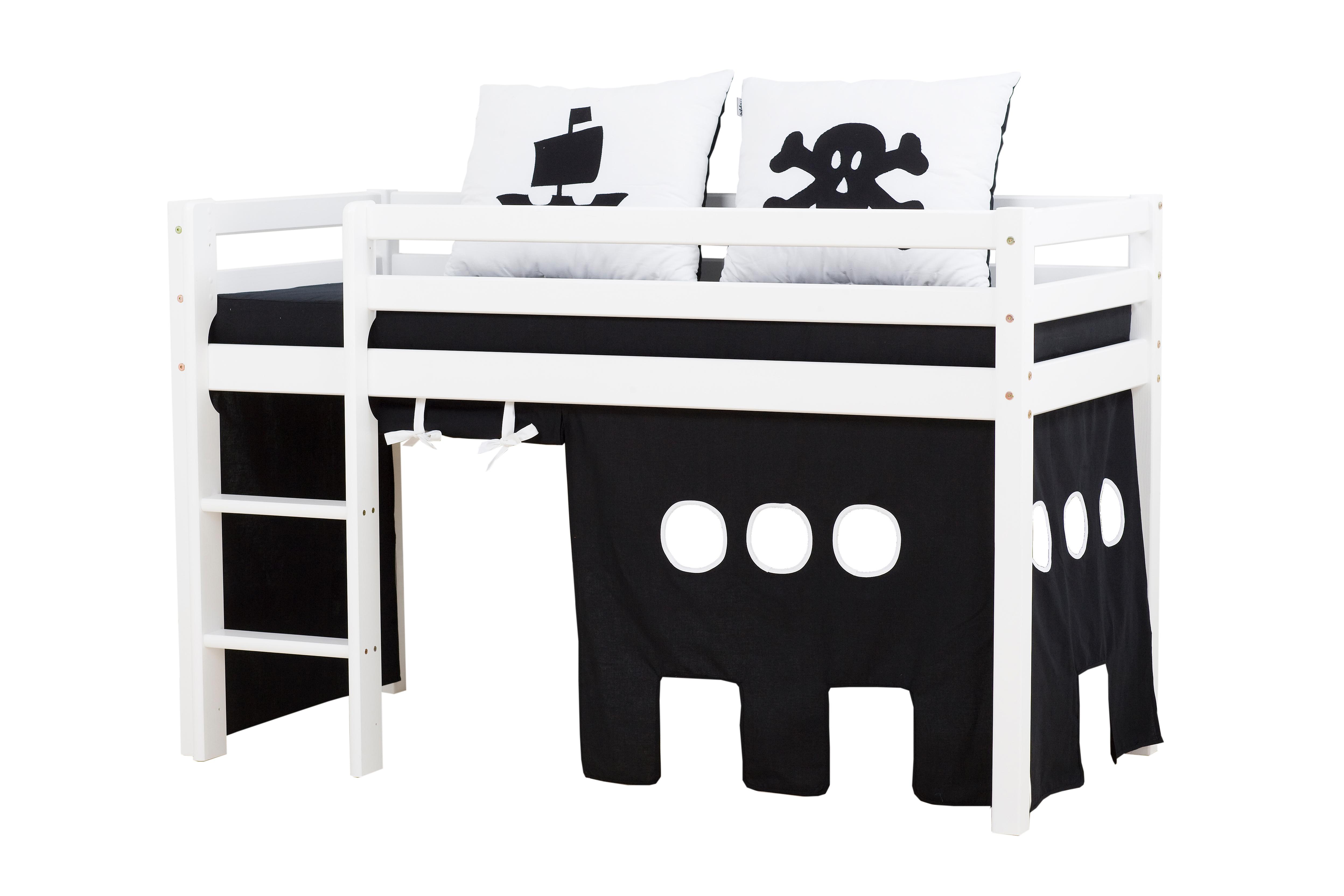 Hoppekids - BASIC Half-high bed with foam mattress + mattress cover + curtain 70x160 - Pirat