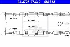 Vaijeri, käsijarru, Taakse, oikea, OPEL VECTRA A, VECTRA A Halvkombi, VAUXHALL CAVALIER Mk Halvkombi III, CAVALIER Mk Sedan III, 5 22 58