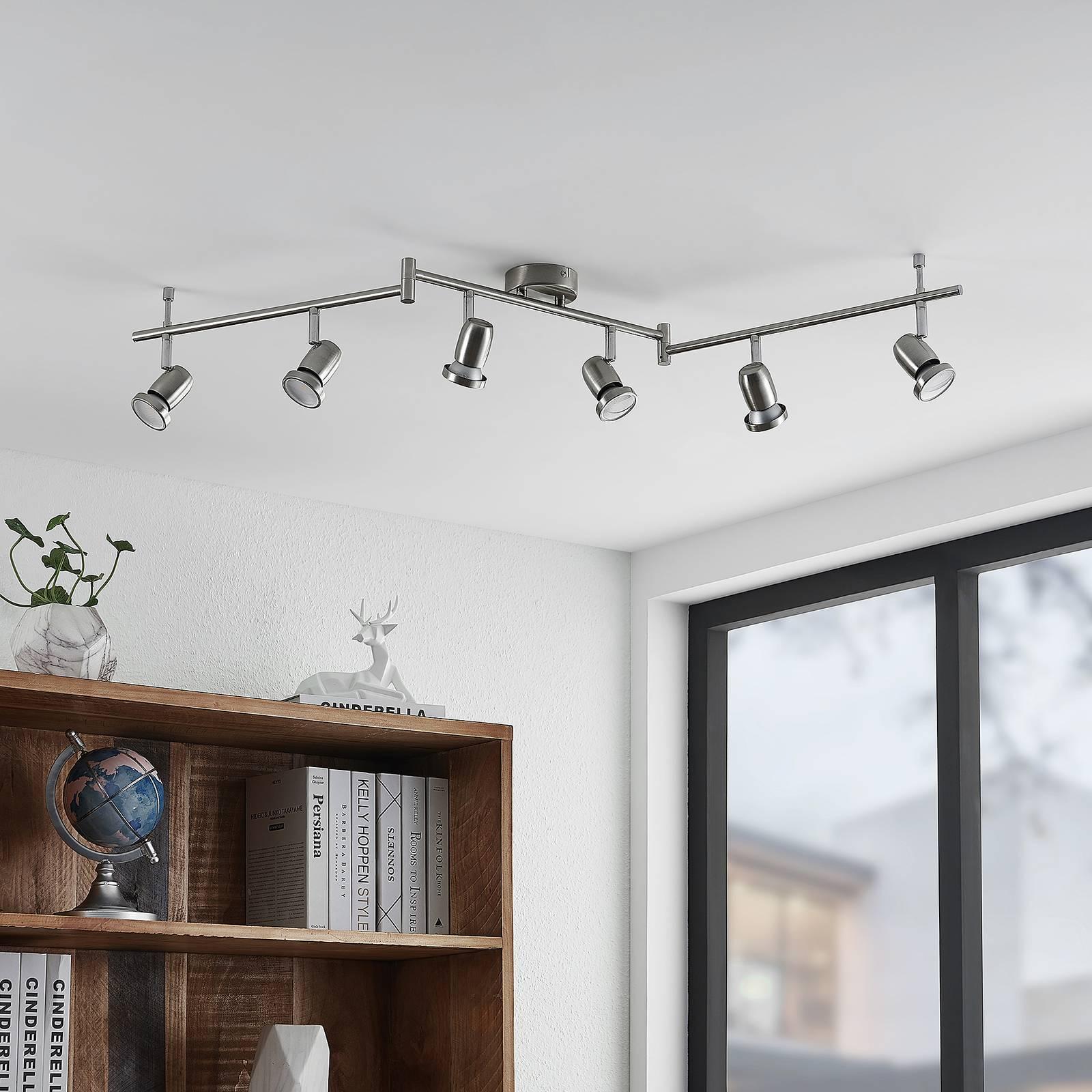 ELC Simano-LED-kattokohdevalo nikkeli 6-lamppuinen