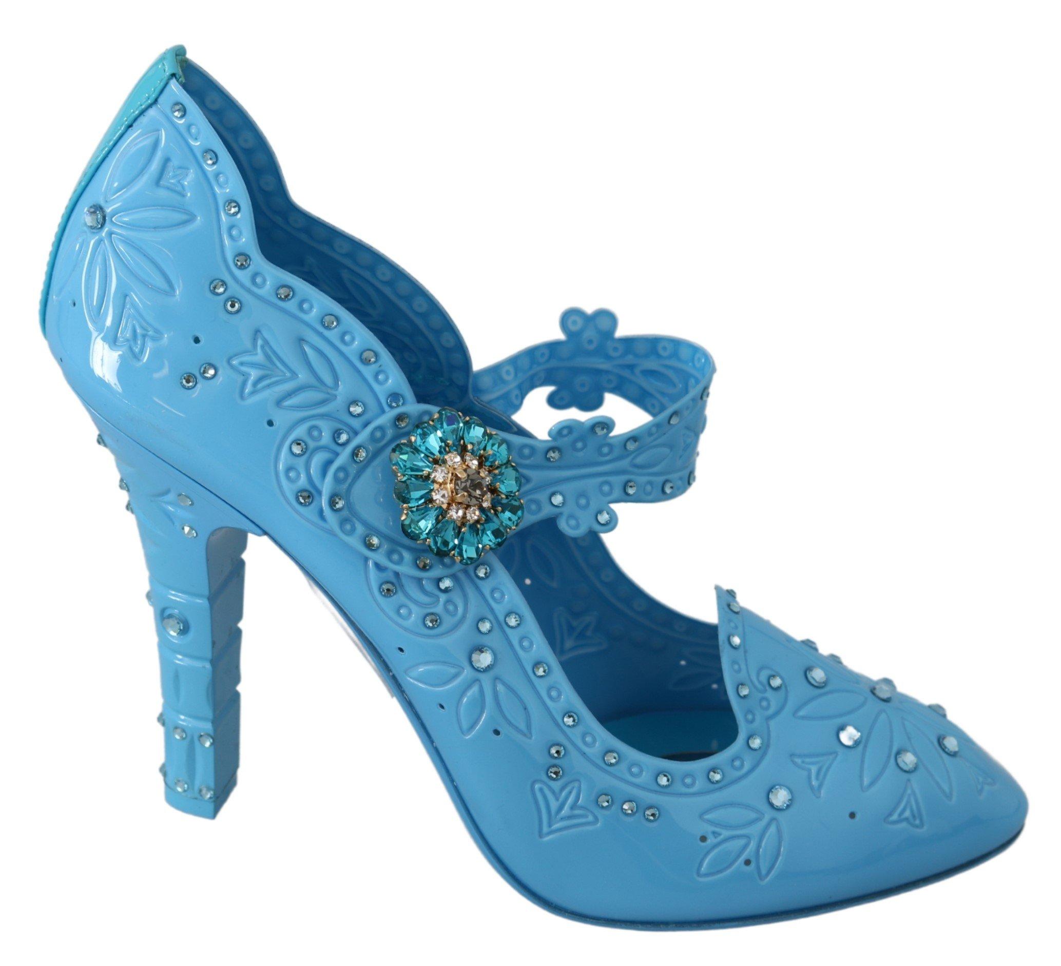 Dolce & Gabbana Women's Floral Crystal CINDERELLA Pumps Blue LA7294 - EU40/US9.5