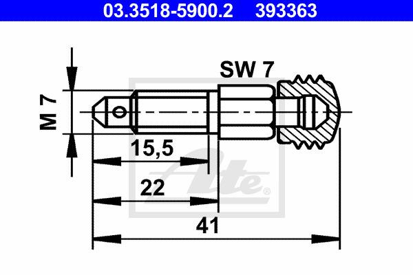 Huohottimen pultti / venttiili ATE 03.3518-5900.2