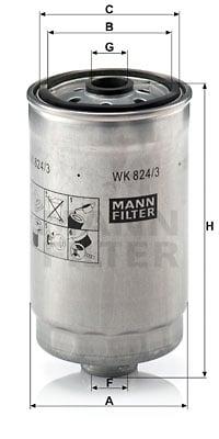 Polttoainesuodatin MANN-FILTER WK 824/3