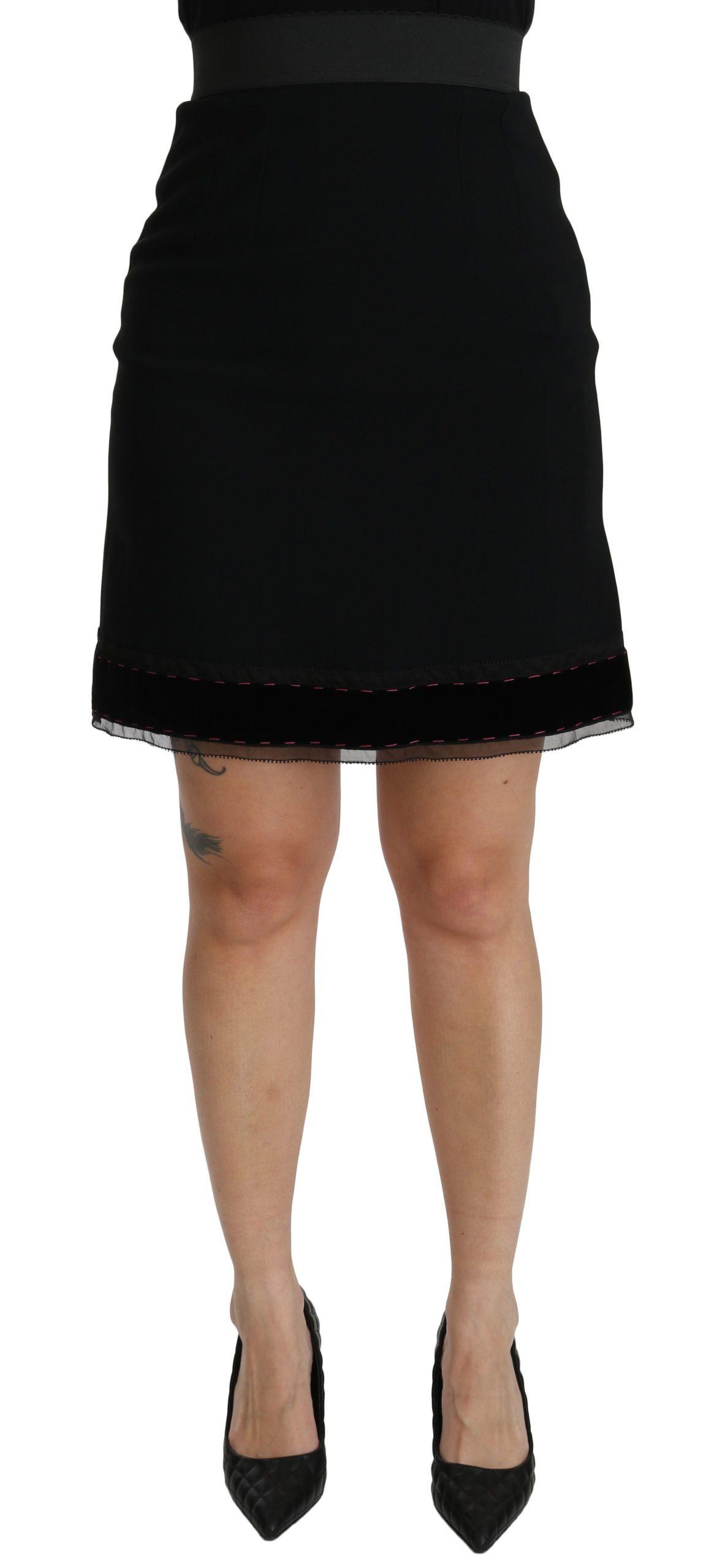 Dolce & Gabbana Women's A-line High Waist Mini Skirt Black SKI1389 - IT38|XS