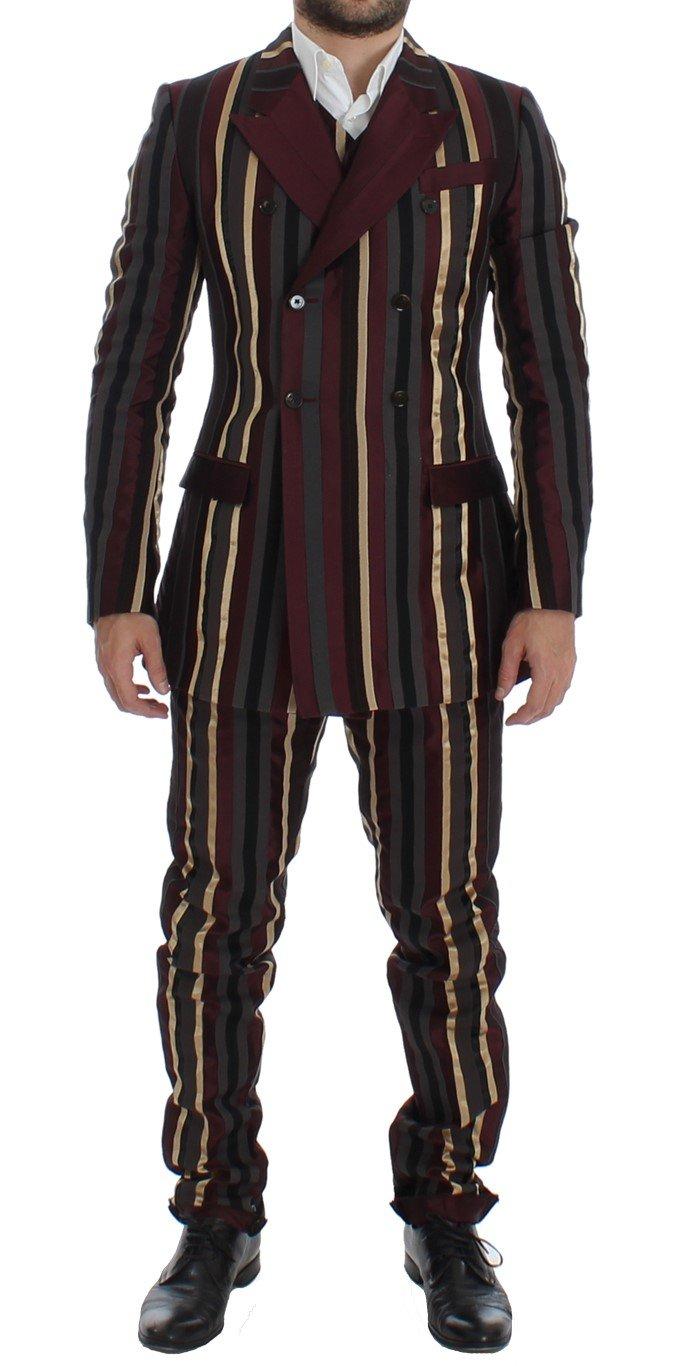 Dolce & Gabbana Men's Striped Runway 3 Piece Slim Fit Suit Multicolor SIG12399 - IT48   M