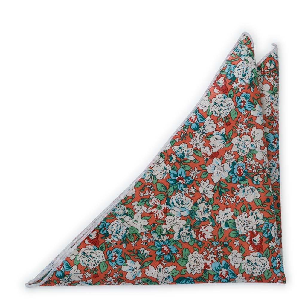 Bomull Lommetørkler, Turkise & hvite blomster på rustoransje, Oransje, Blomster