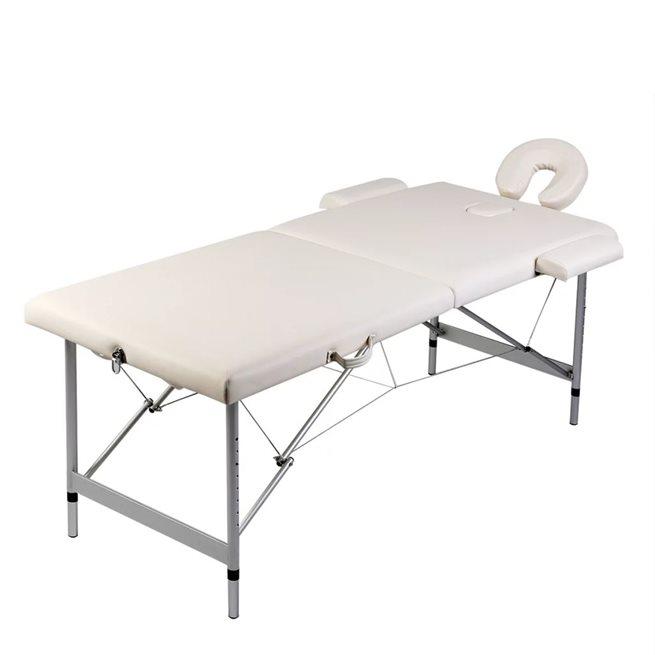 vidaXL Hopfällbar massagebänk med 2 sektioner aluminiumram gräddvit