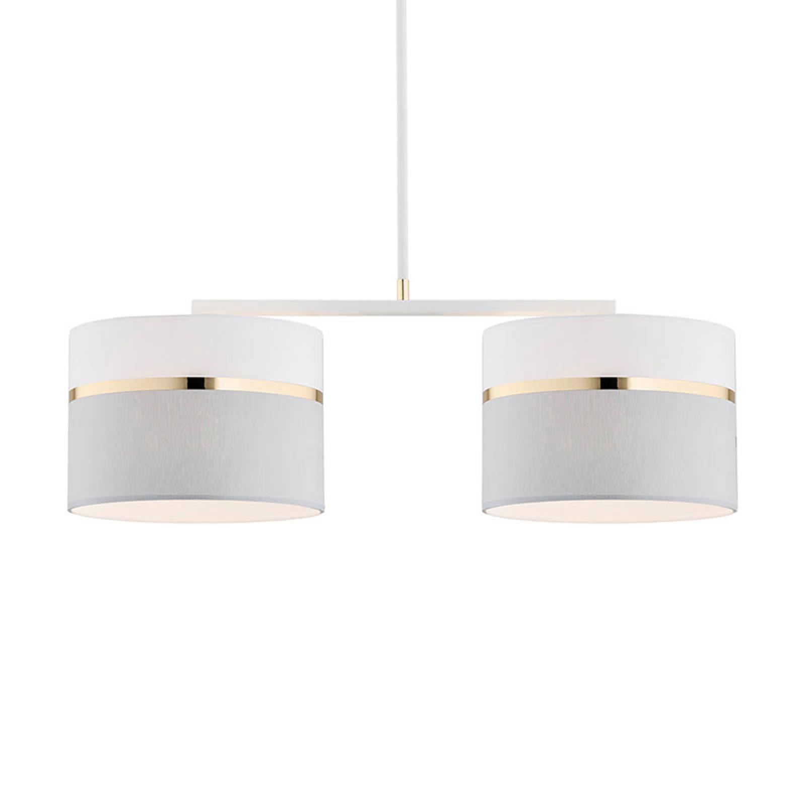Riippuvalo Long 2-lamppuinen valkoinen/harmaa