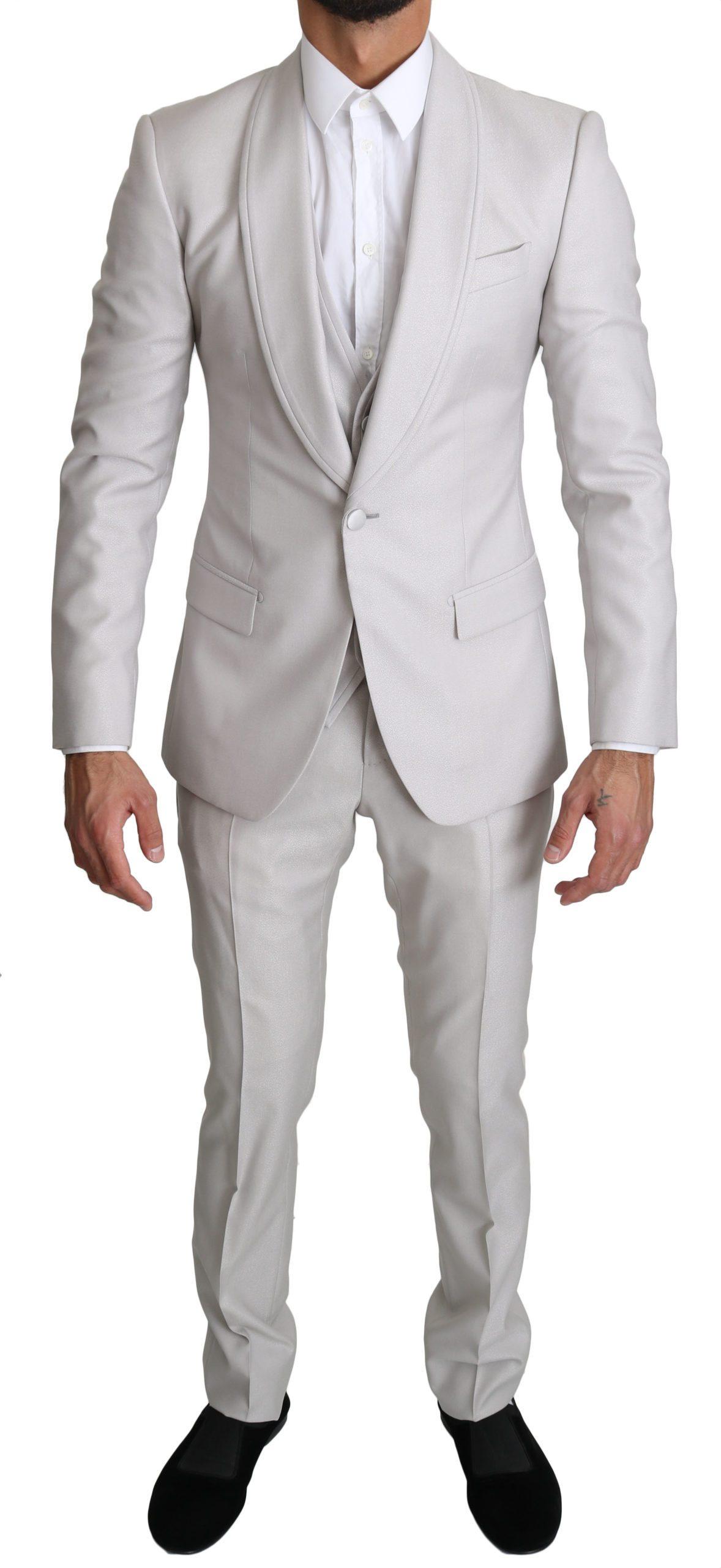 Dolce & Gabbana Men's Single Breasted 3 Piece Wool Suit Silver KOS1519 - IT44   XS