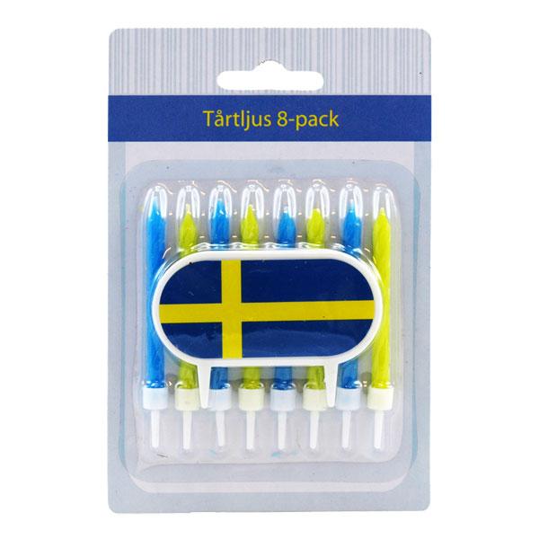 Tårtljus med Hållare Sverige - 8-pack