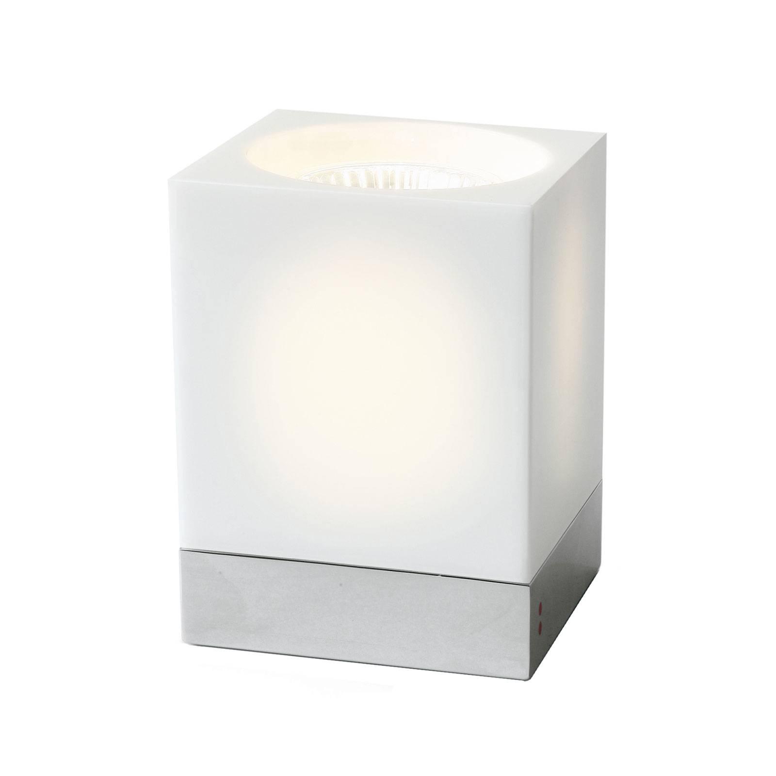 Fabbian Cubetto-pöytävalaisin GU10 kromi/valkoinen