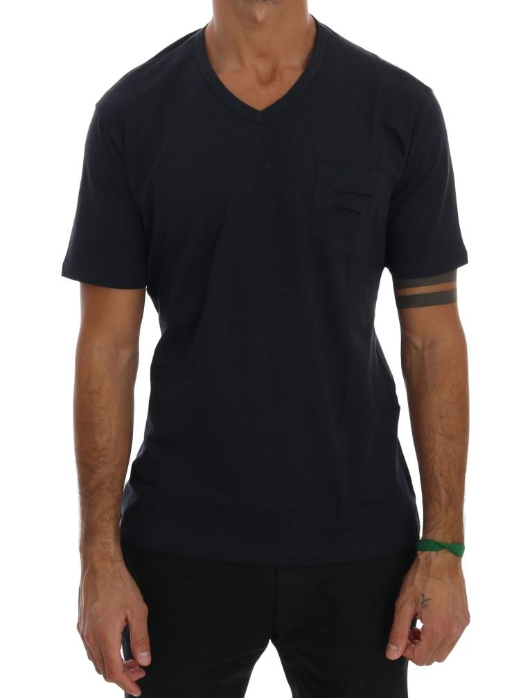 Daniele Alessandrini Men's Cotton V-neck T-Shirt Blue TSH1321 - S