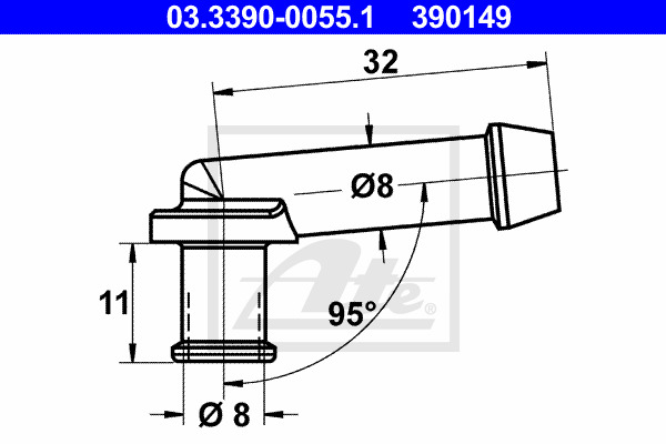 Liitin, letkujohto ATE 03.3390-0055.1