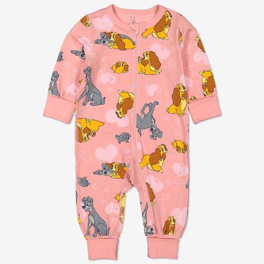 Pyjamas med lady og landstrykeren-trykk baby rosa