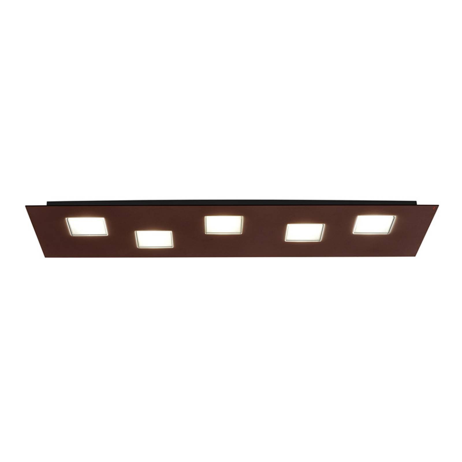 Fabbian Quarter - LED-taklampe 5 lyskilder, brun