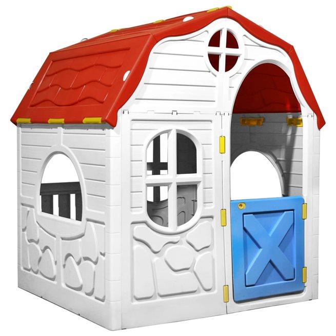 vidaXL Hopfällbar lekstuga med fungerande dörr och fönster