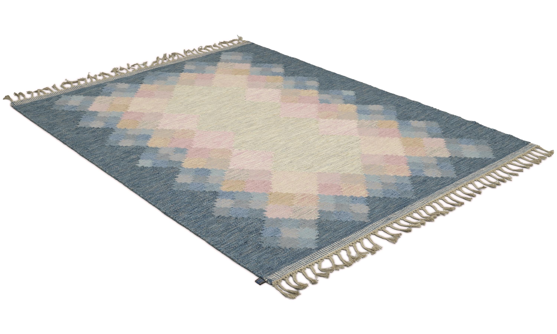 Opal blå/rosa - håndvevd ullteppe