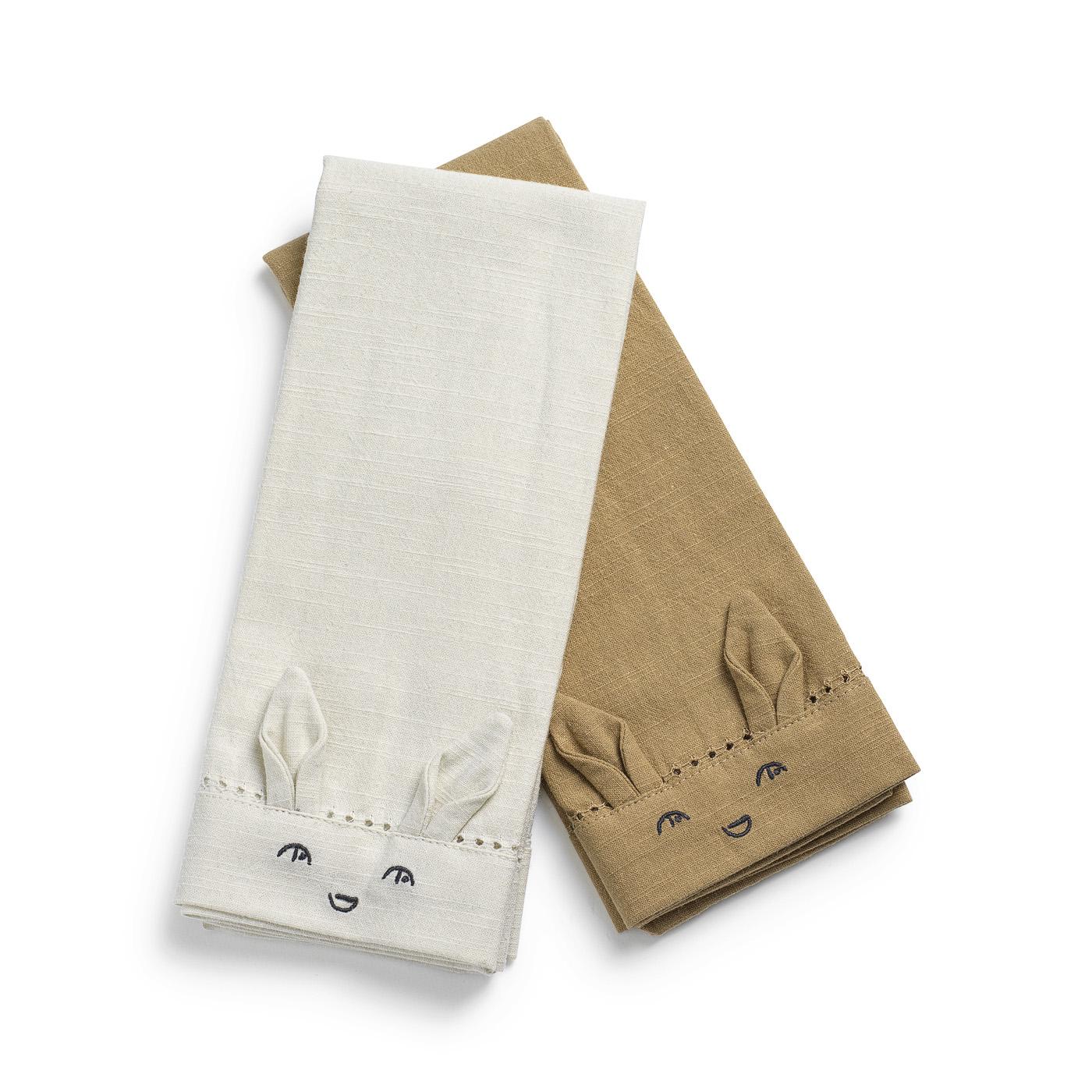 Napkins 2 pieces - Lily White/Warm Sand
