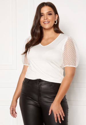 Happy Holly Melissa v-neck puff top Offwhite 36/38