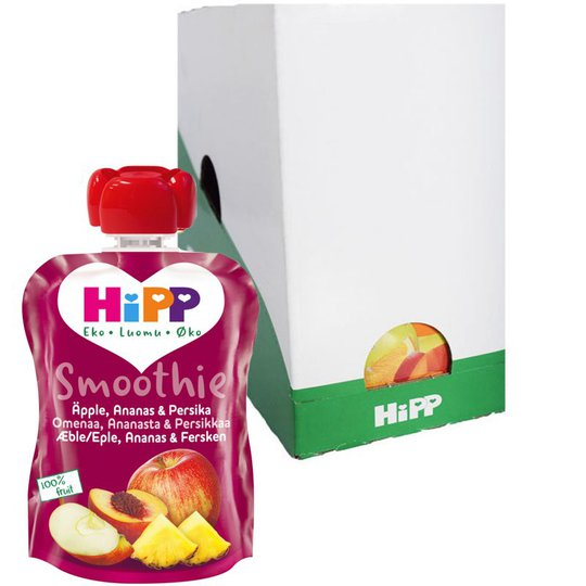 Laatikollinen smoothieita, omena, ananas ja persikka, 6x90g - 26% alennus