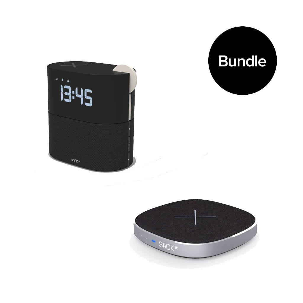 SACKit - WAKEit Clock Radio Pearl + CHARGEit Care power bank & wireless charger