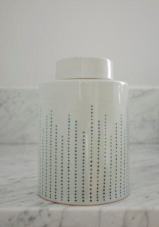Dribble keramikkboks – Celadon, medium