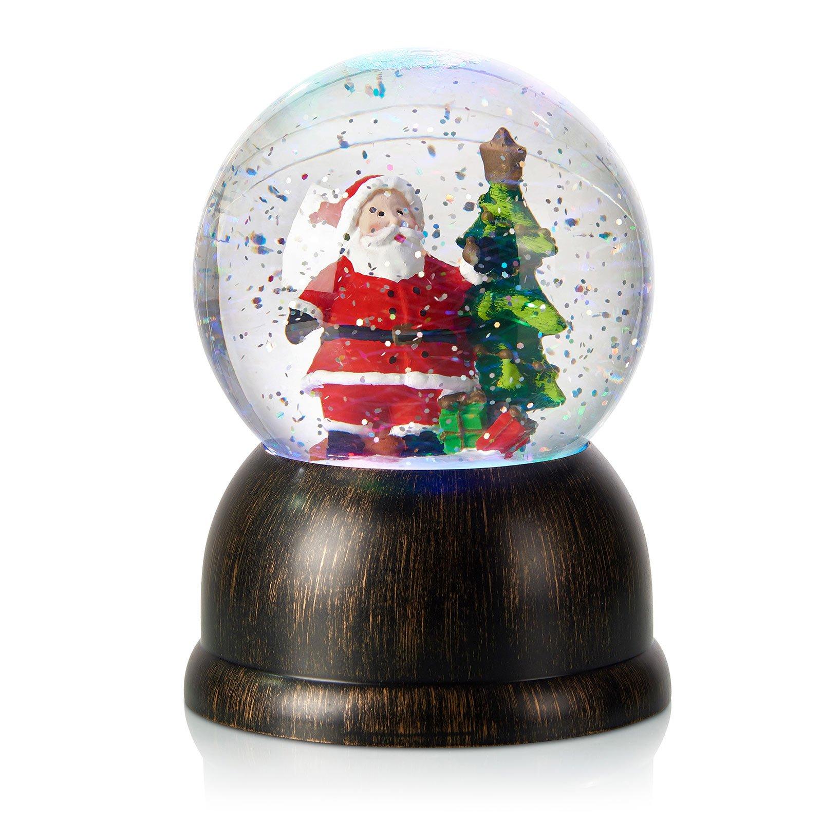 LED-snøkule Max med julenisse, bronse