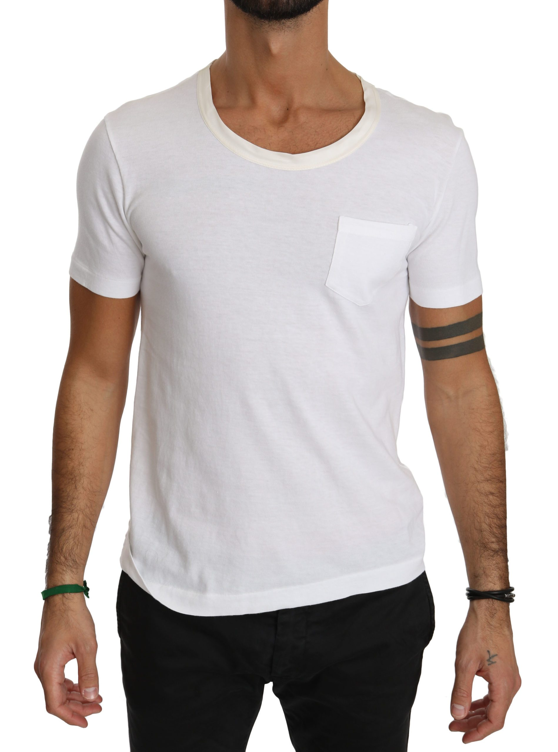 Dolce & Gabbana Men's Roundneck Casual Cotton T-Shirt White TSH4006 - IT48 | M