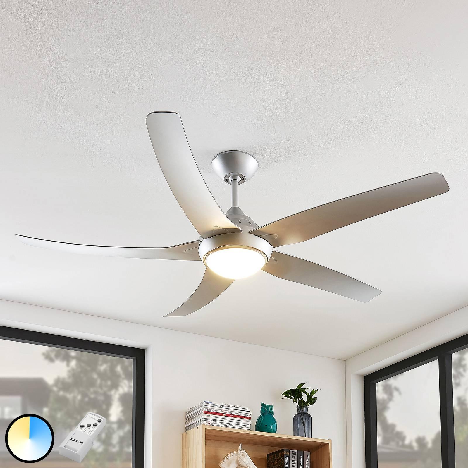 Arcchio Dora -LED-kattotuuletin, hopea 5 siipeä