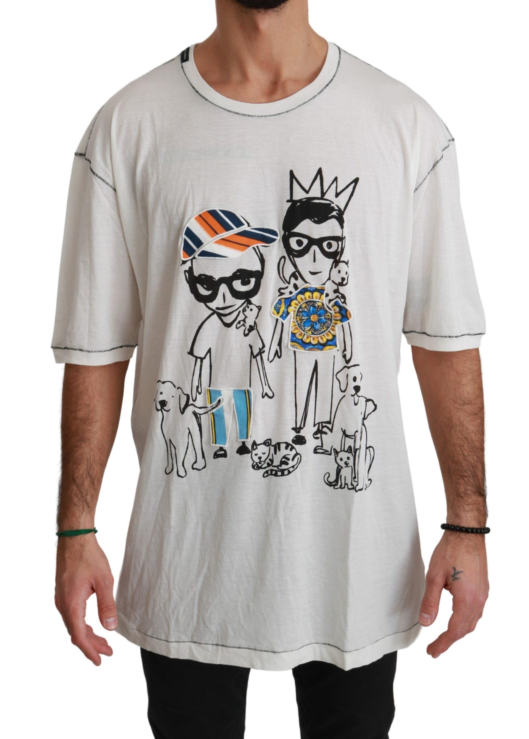 Dolce & Gabbana Men's Printed Cotton T-Shirts White/Black TSH4477 - IT54   XL