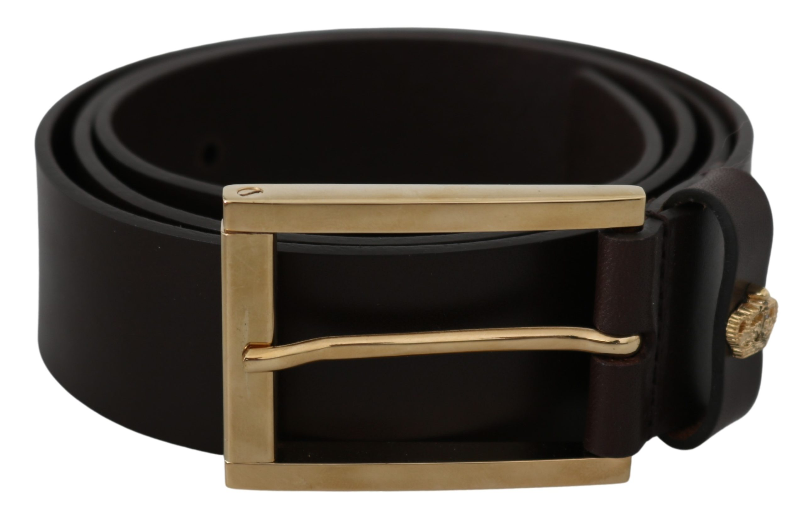 Brown Leather Gold Crown Logo Belt - 90 cm / 36 Inches