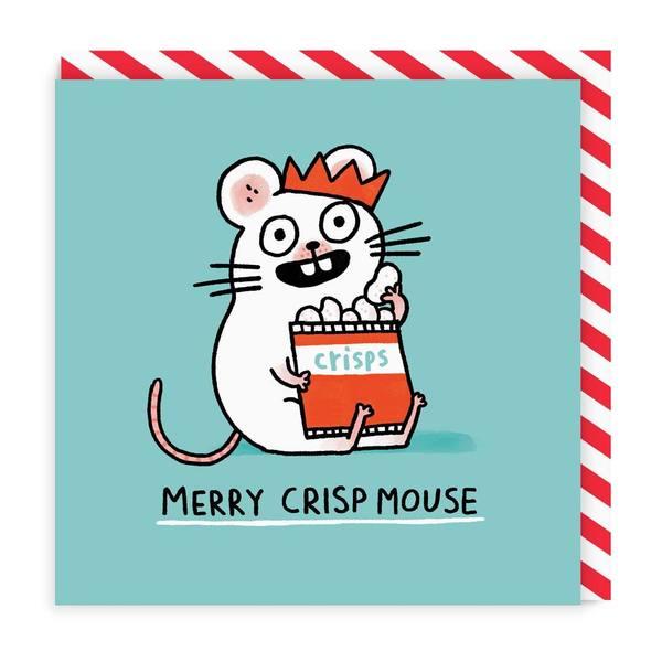 Merry Crispmouse Square Christmas Card