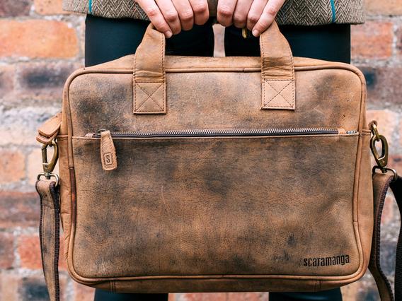 Leather Laptop Bag - Women Large Brown