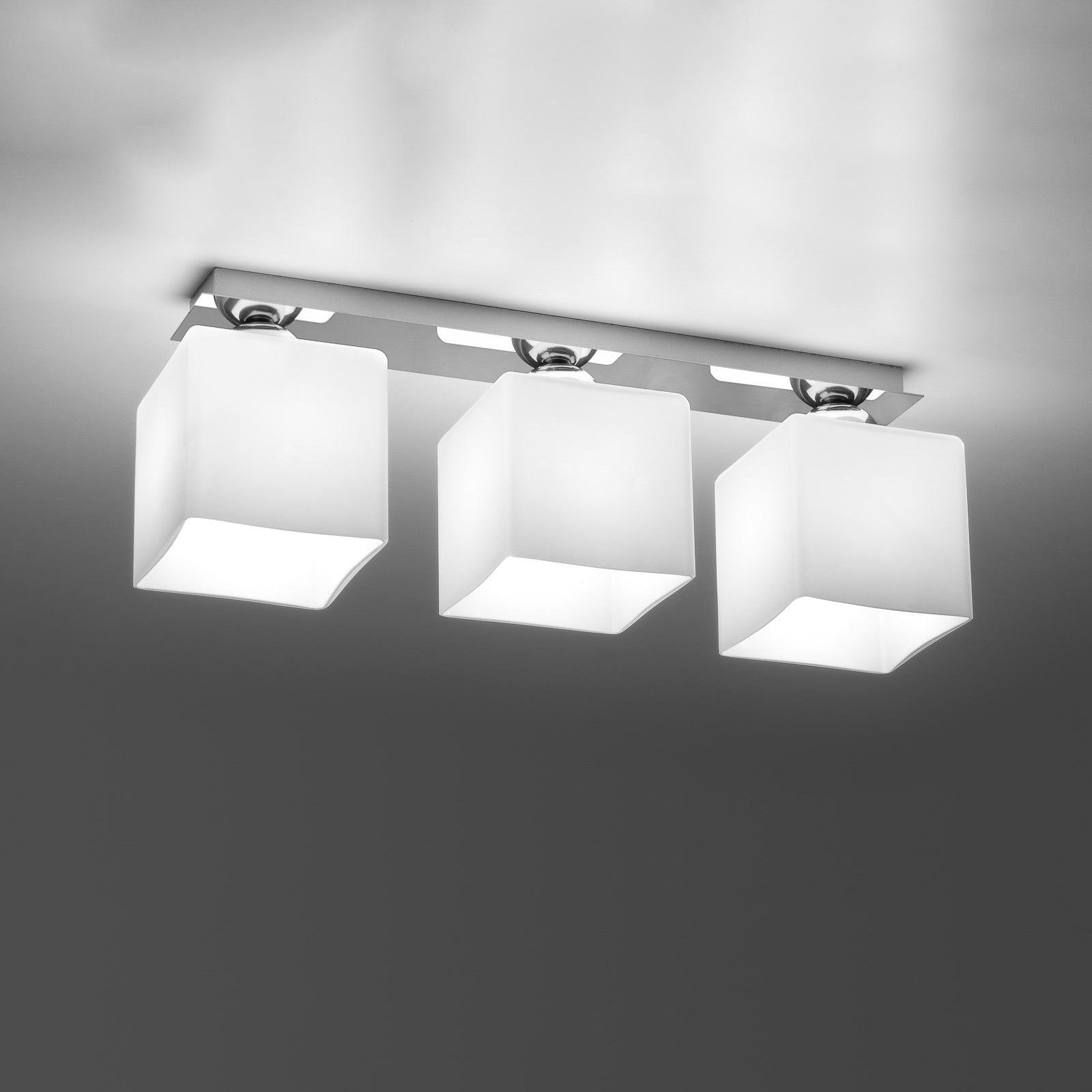 Kattovalaisin Block, opaali/kromi, 3-lamppuinen
