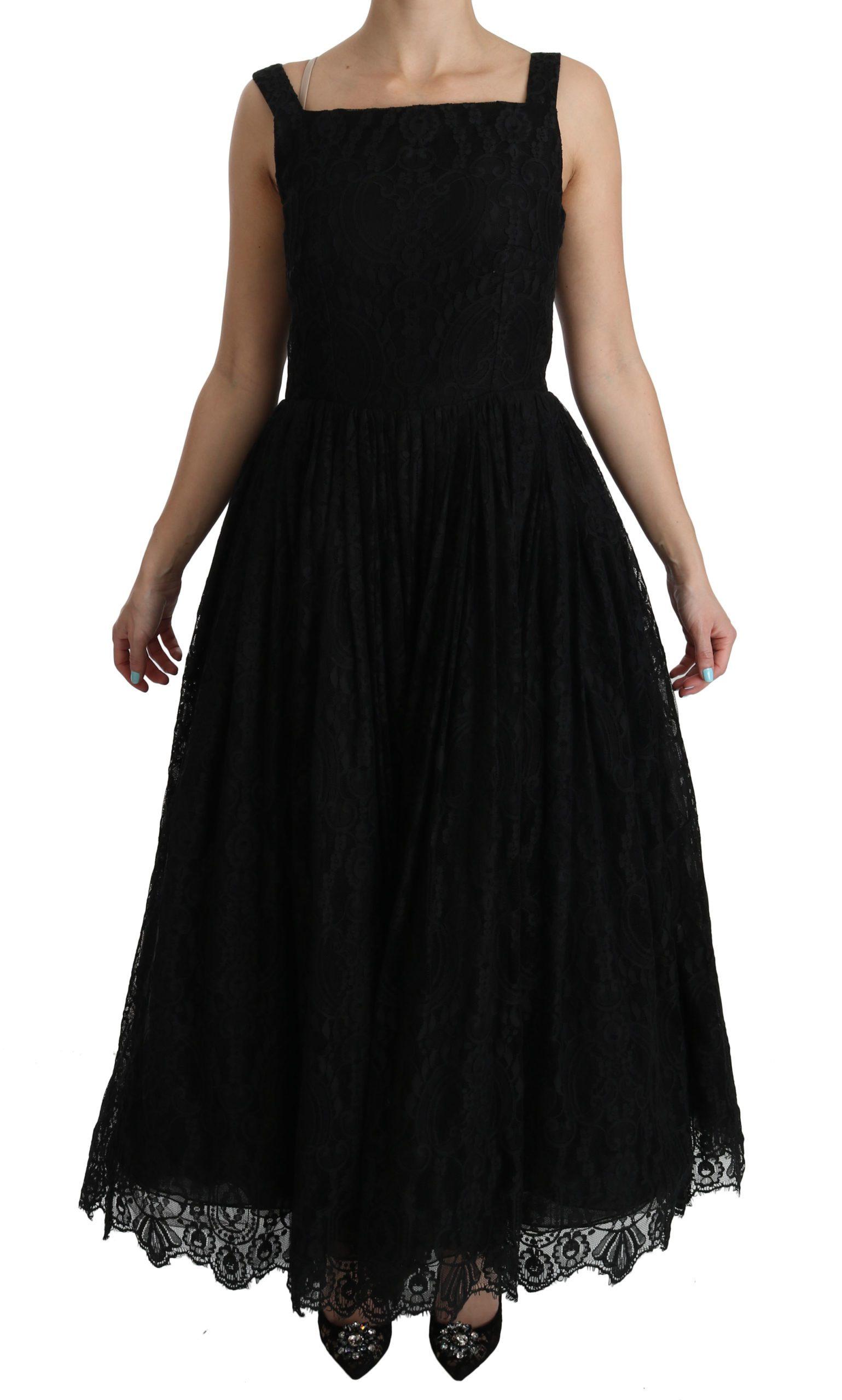Dolce & Gabbana Women's Lace A-Line Pleated Long Gown Dress Black DR2062 - IT44|L