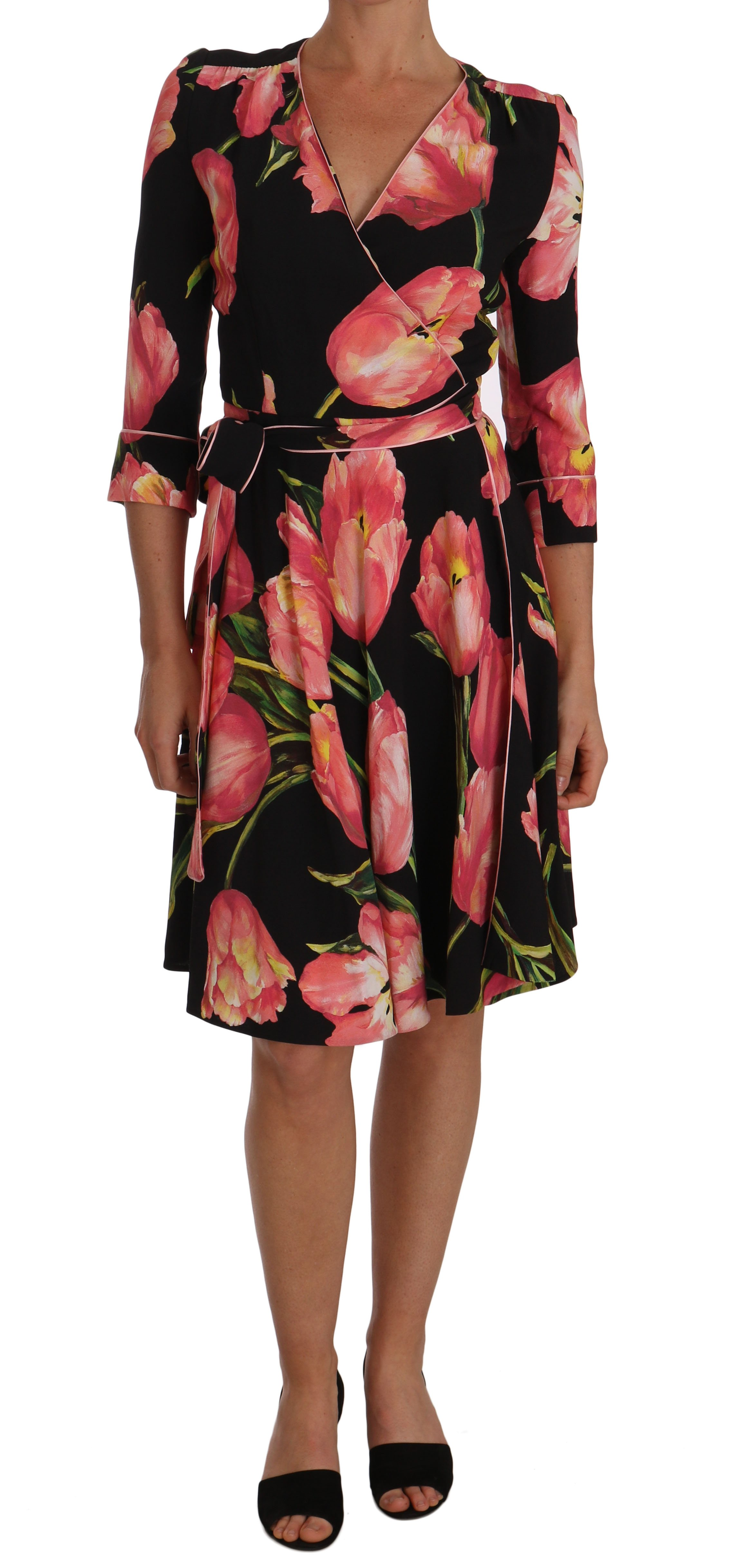 Dolce & Gabbana Women's Tulip Print Stretch Shift Dress Black DR1446 - IT38|XS