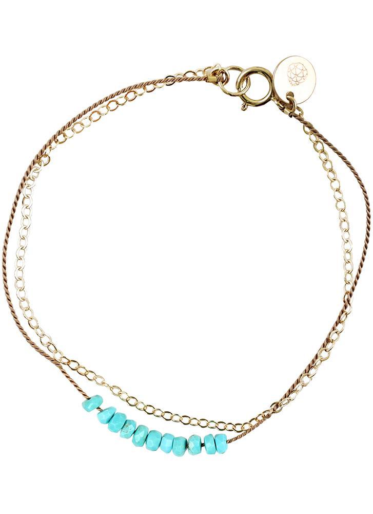 Wanderlust Life Gold & Silk Turquoise Beaded Bracelet
