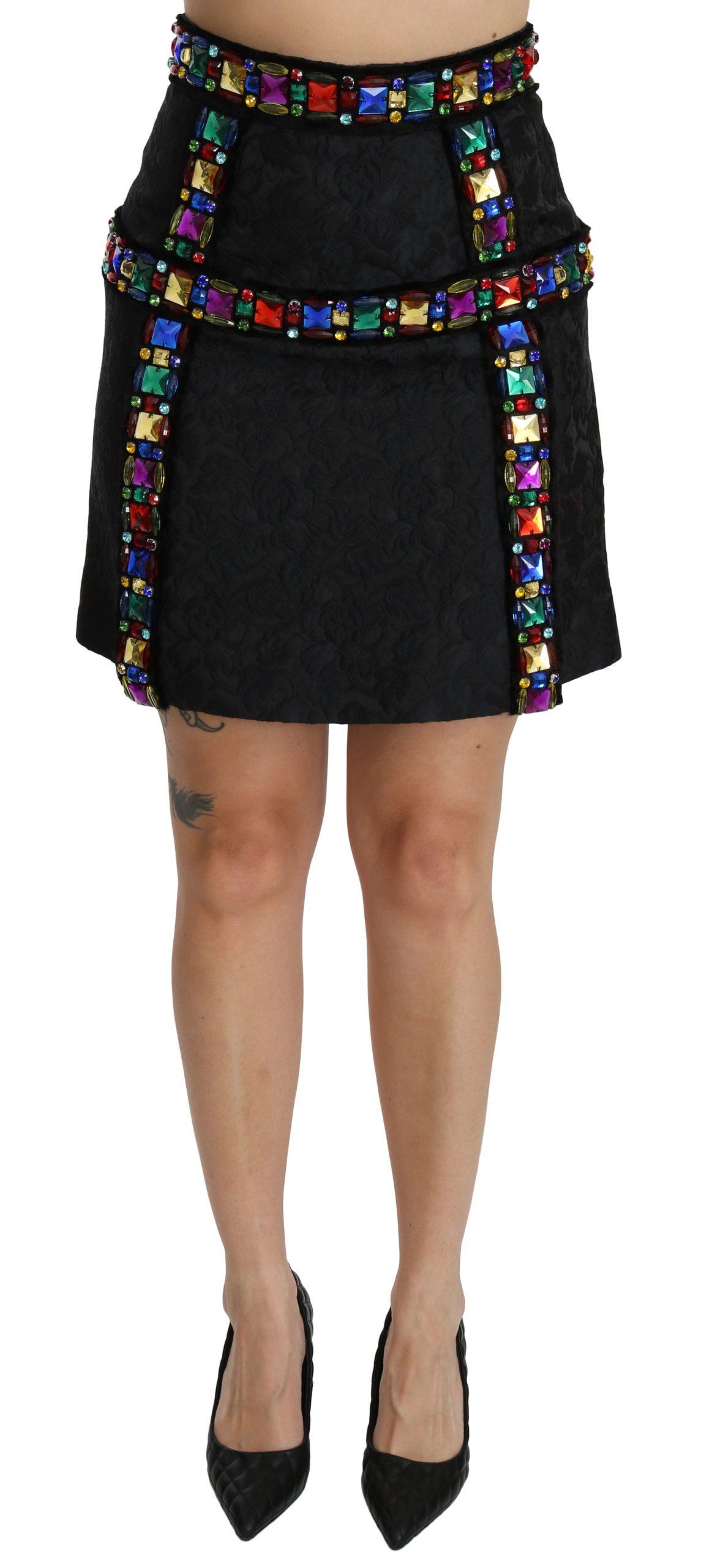 Dolce & Gabbana Women's Crystal Embellished Waist Skirt Black SKI1357 - IT38|XS