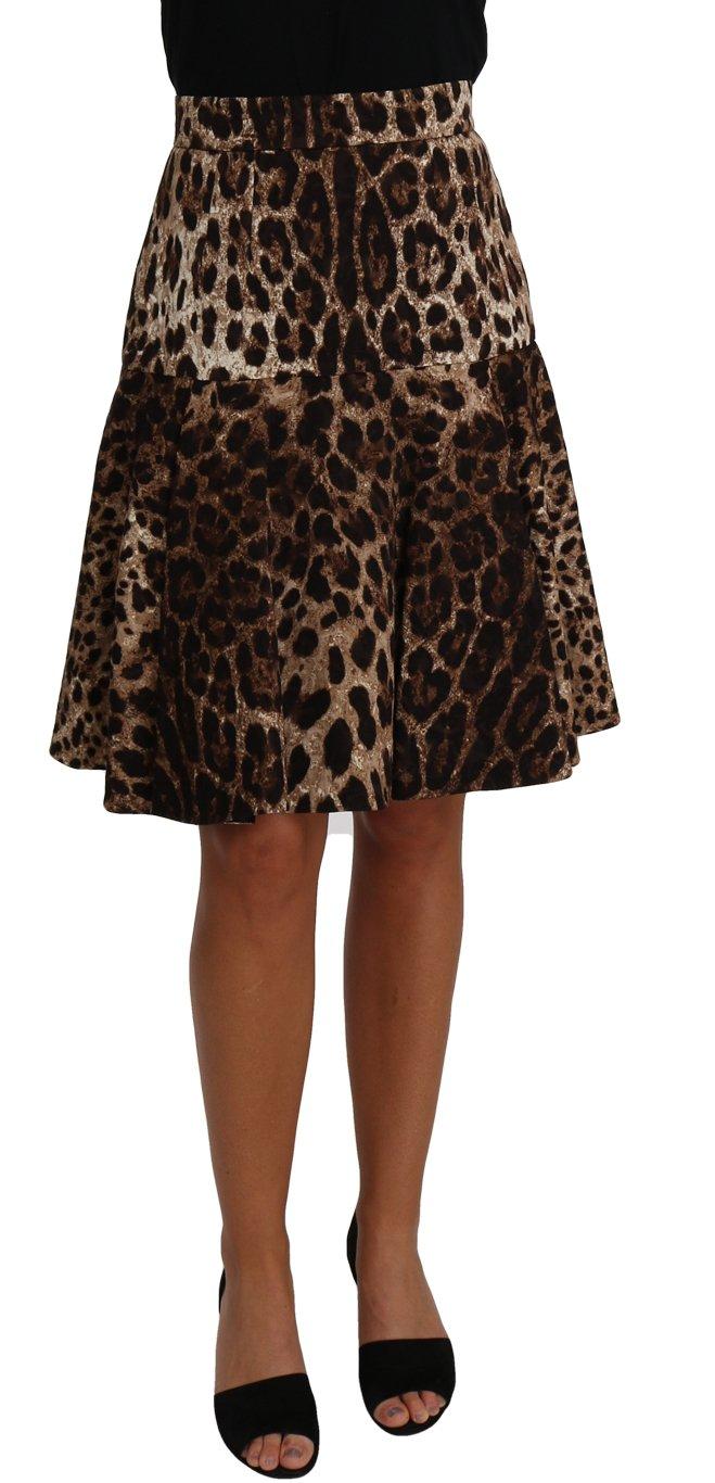 Dolce & Gabbana Women's A-Line Leopard Print Skirt Brown BYX1363 - IT40|S