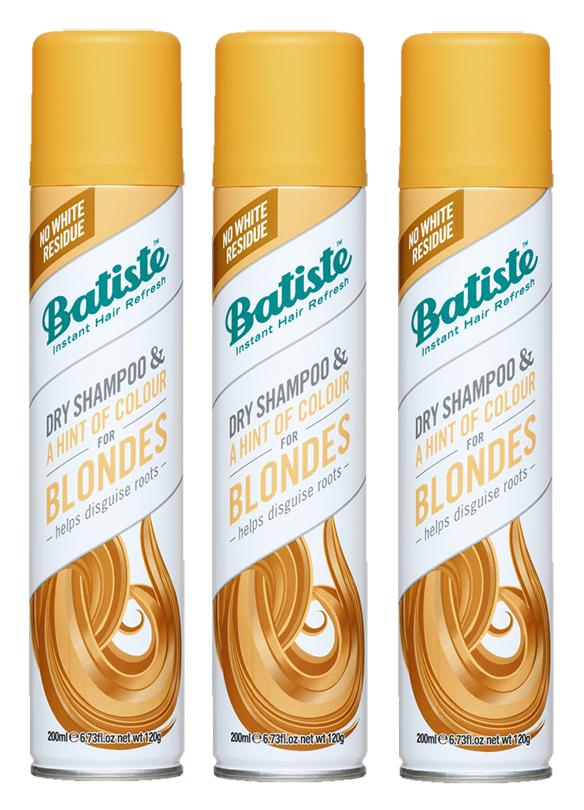 Batiste - 3 x Dry Shampoo Hint of Colour Light Blond 200 ml