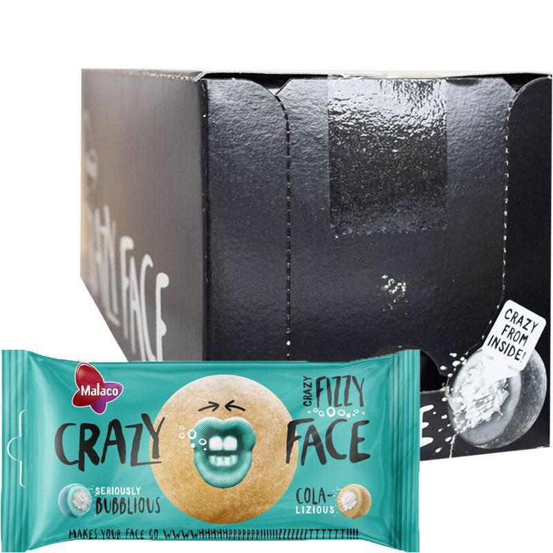 "Hel Låda Godis ""Crazy Face Fizzy"" 24 x 60g - 75% rabatt"