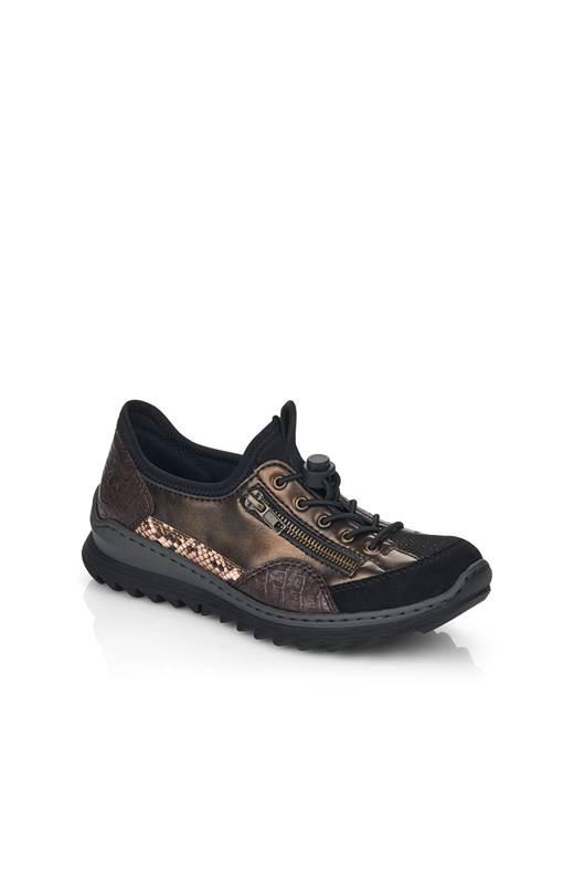 Rieker Sneakers med resårsnörning Svart Brons