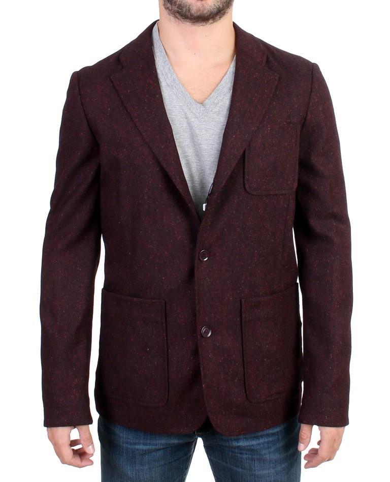 GF Ferre Men's Wool Blend Two Button Blazer Bordeaux SIG10847 - IT48   M