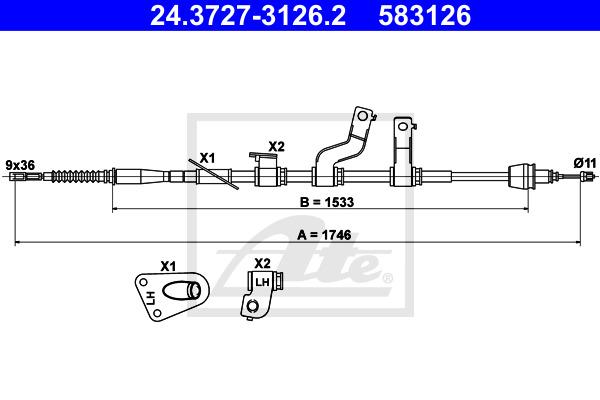 Käsijarruvaijeri ATE 24.3727-3126.2