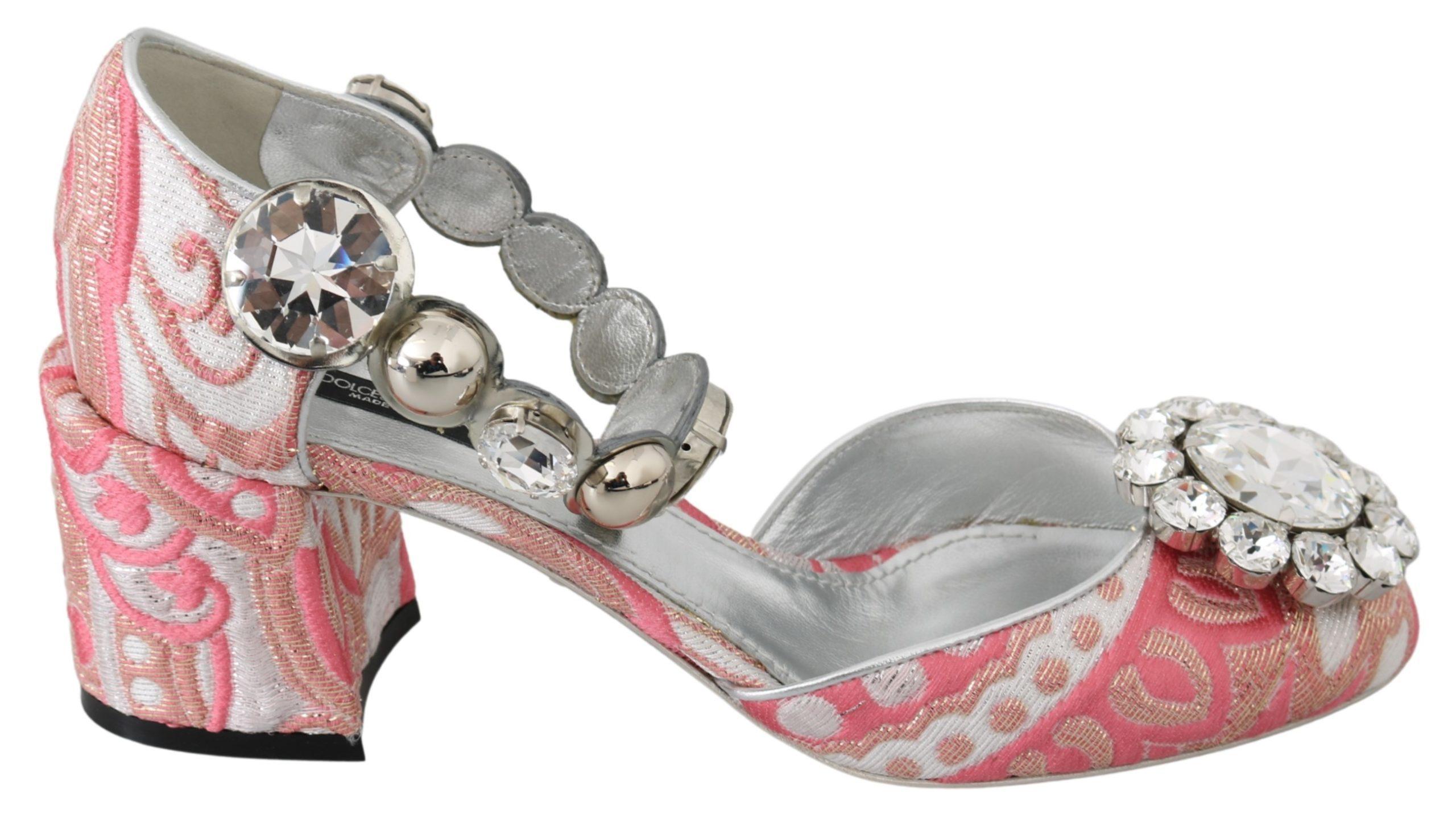 Dolce & Gabbana Women's Brocade Crystals Pumps Pink LA7237 - EU39/US8.5