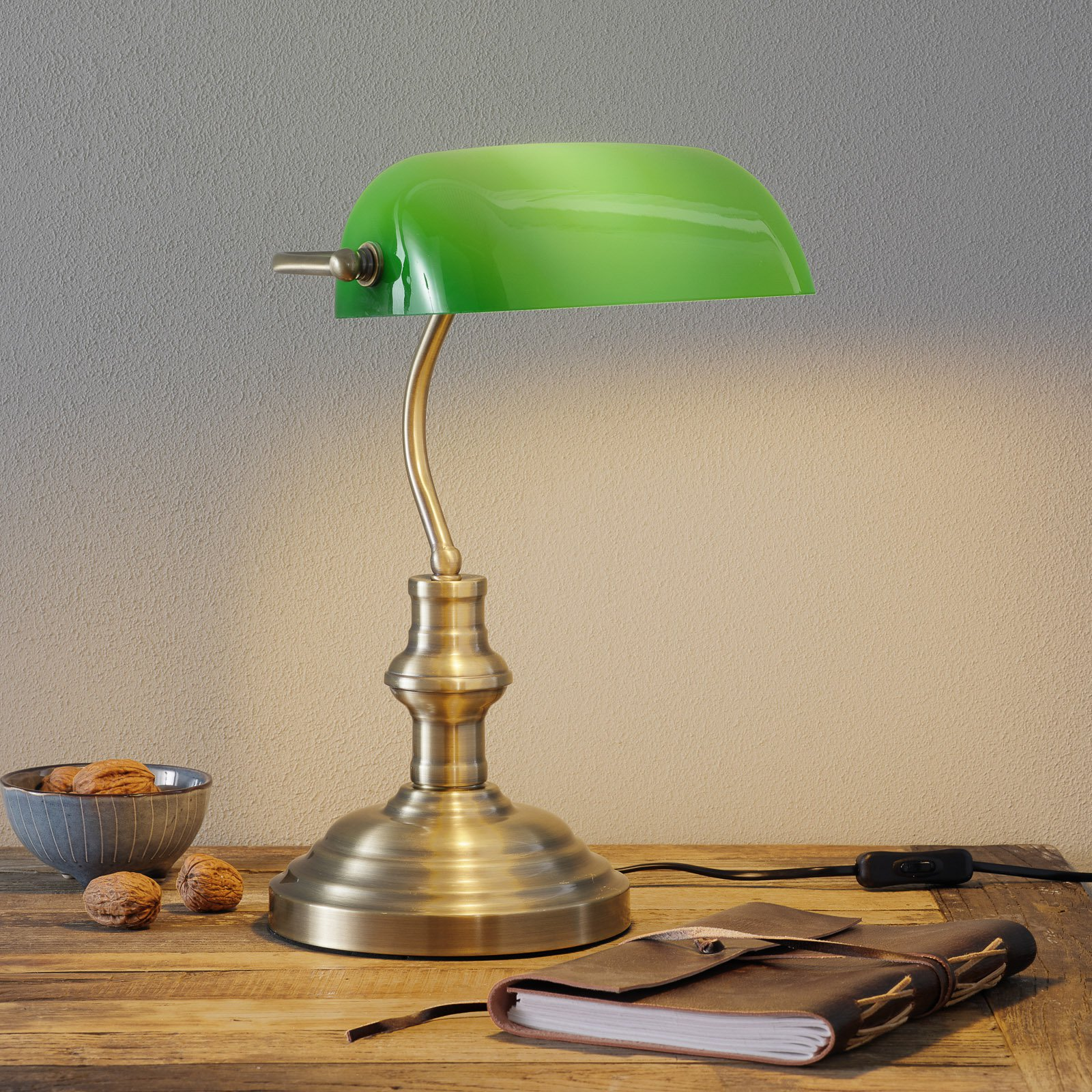 Bankers klassisk bordlampe 42 cm grønn