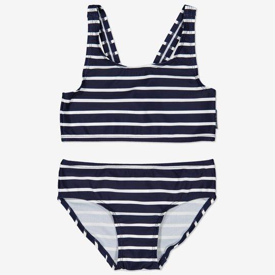 Stripet bikini mørkblå