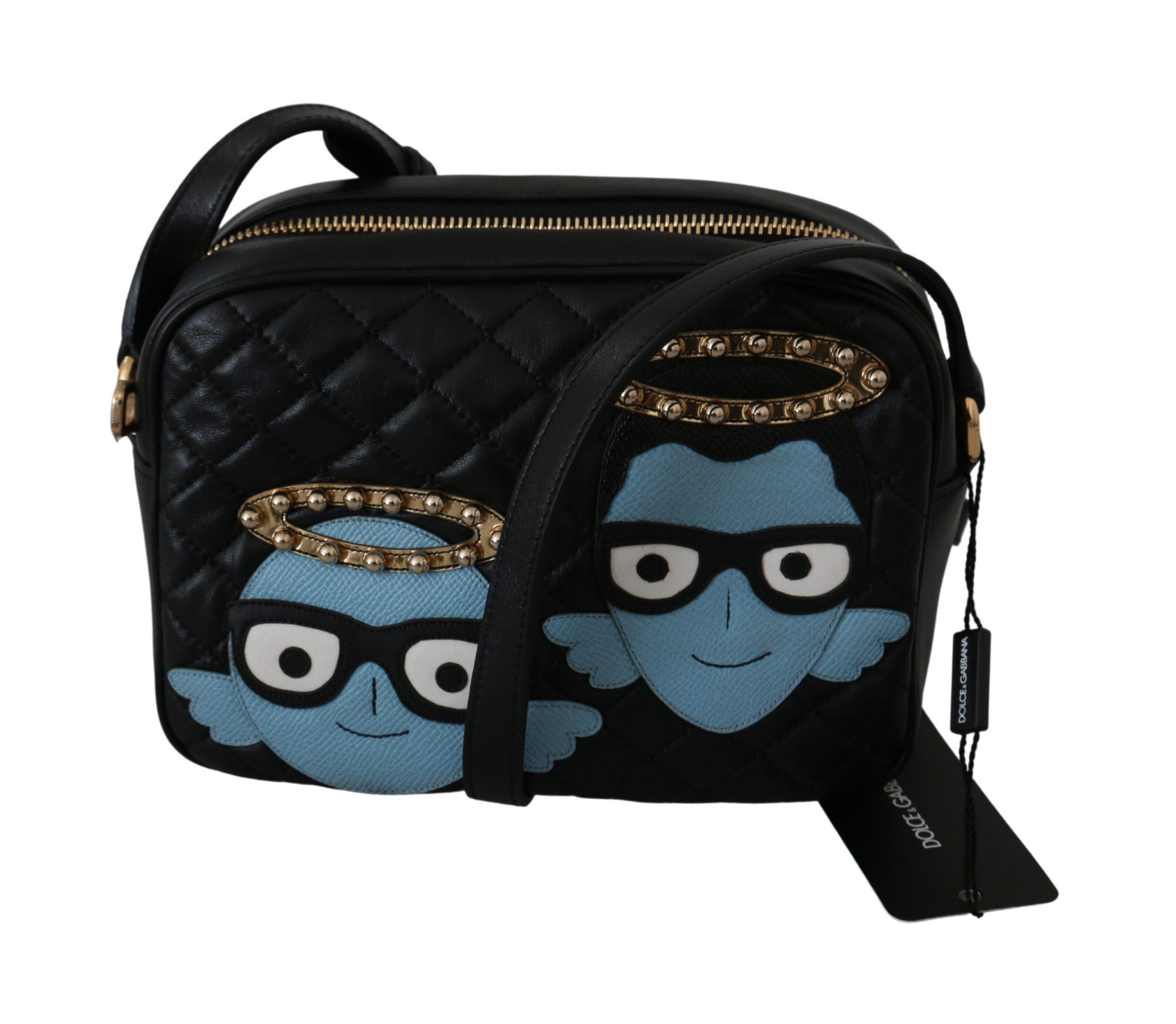 Dolce & Gabbana Women's Angel Patch GLAM Leather Crossbody Bag Black VAS9201