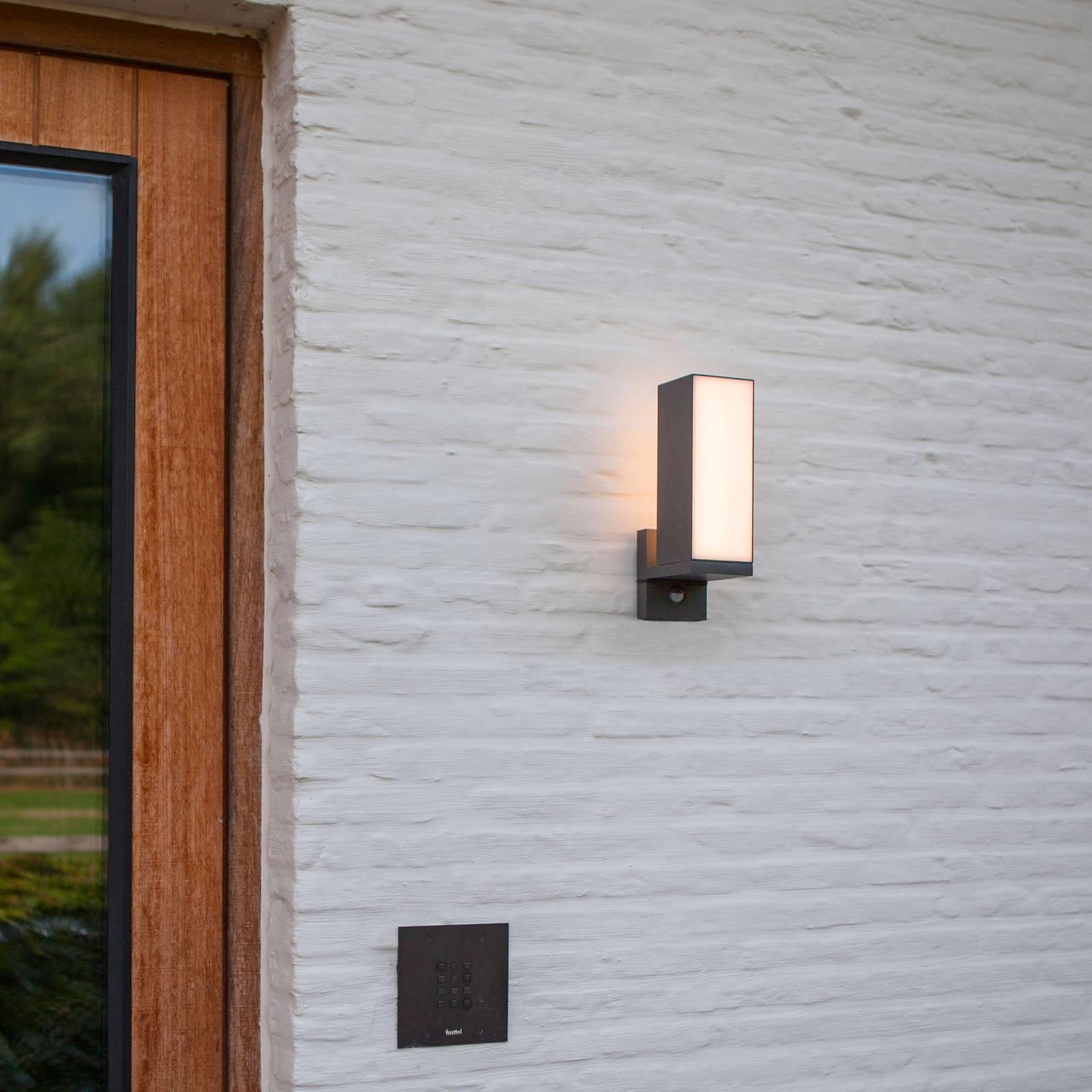 LED-ulkoseinälamppu Cuba, 1 lamppu, liiketunnistin