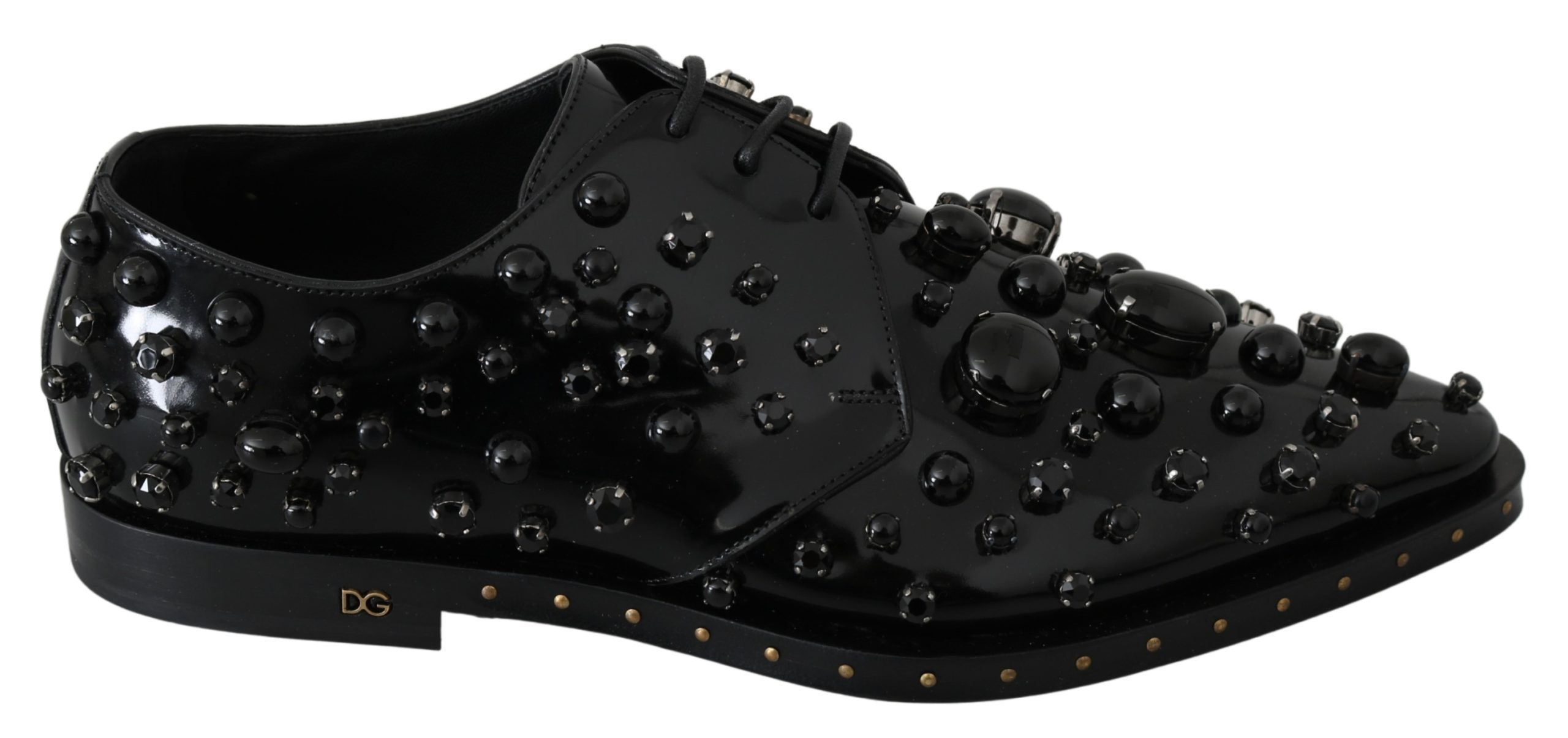 Dolce & Gabbana Women's Crystals Dress Broque Shoe Black Black LA7210 - EU39/US8.5