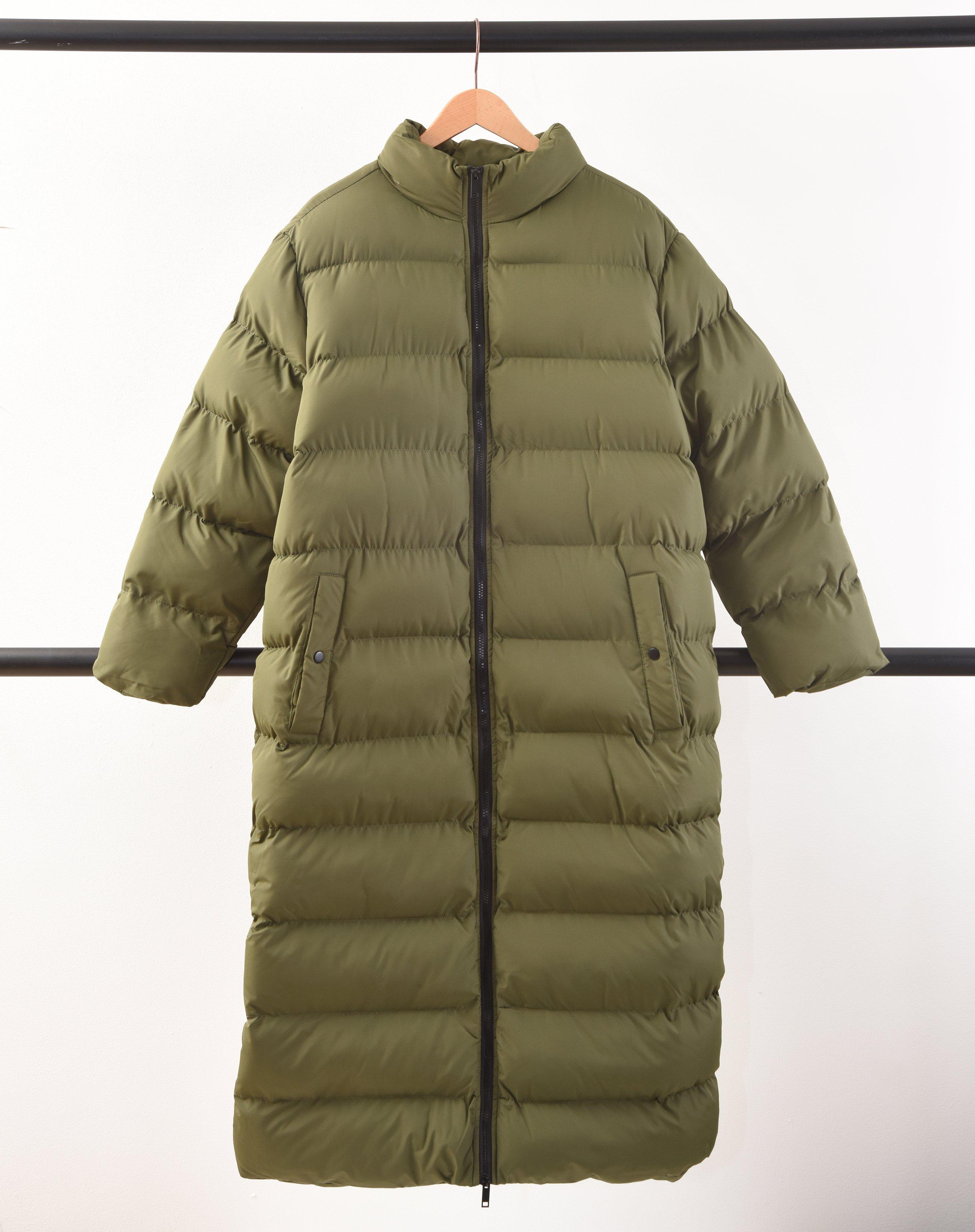 Longline Oversized Puffer Jacket - Khaki / 16